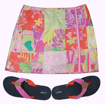 Lilly Skirt and J. Crew Grosgrain Ribbon Flip Flops