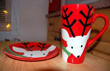 reindeer plate and mug