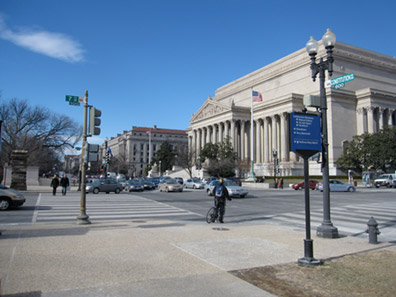 The National Archives sitting at the crossroads of 7th Street & Constitution Avenue