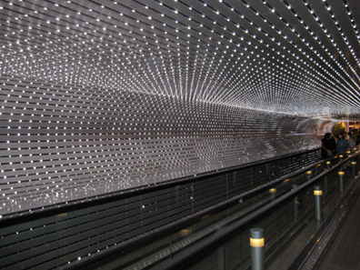 The groovy disco concourse connecting the two buildings
