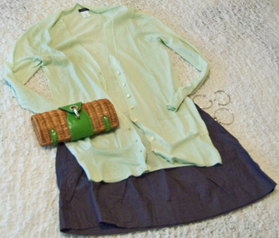 lime green sweater and blue skirt from J. Crew